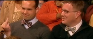 Bow Tie Guy in Audience Gives Barbara Walters The finger and it Airs On TV!