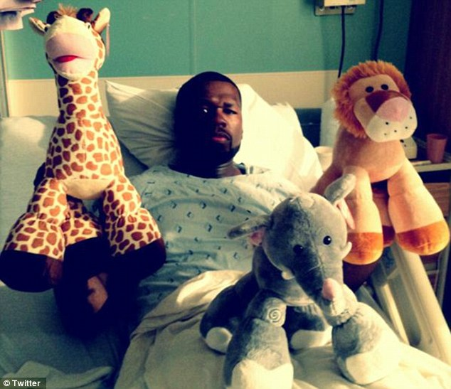 50 Cent Hospitalized For what Seems to be a Stomach Virus, Tweets Pics but Doesn't Confirm What's wrong.