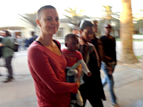 Charlize Theron Let's her Dome Out in Namibia for the World to See.