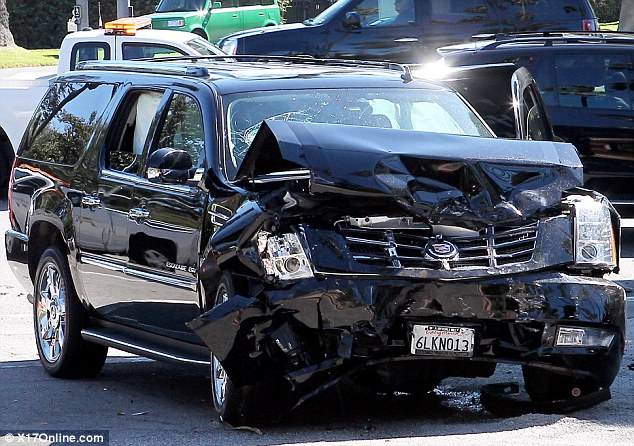 Pictures from Diddy's Dramatic Car Crash; Looks Worse than It Really Was