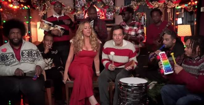 Mariah Carey Joins Jimmy Fallon and the Roots for A Christmas Tune Using School Room Instruments
