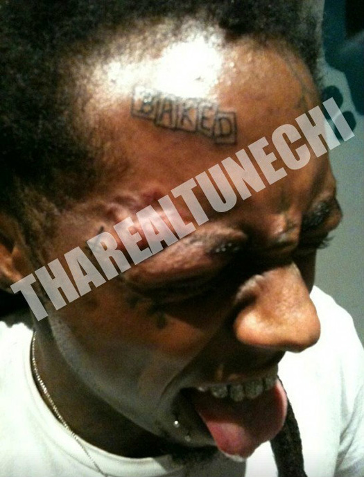 Is That Lil Wayne's Forehead Tattoo?  Yes it is!