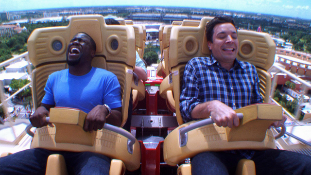 Jimmy Fallon Forces Kevin Hart To Ride Roller Coaster, Hilarity Ensues (VIDEO)