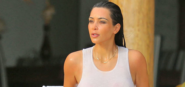 Kim Kardashian Lets It All Hang Out, Shows Off Nipples In Wet Tank-Top (PHOTOS)
