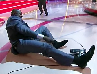 WATCH: Shaq Falls Hard On 'Inside the NBA' Set, And We Can't Stop Laughing!
