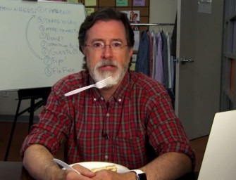 Stephen Colbert Sticks A Fork In His Majestic Beard, Both Literally And Figuratively (VIDEO)