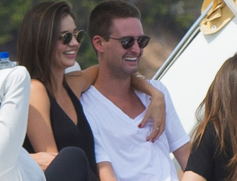 Scrawny Dudes, There Is Hope! Snapchat CEO Evan Spiegel Is All Over Miranda Kerr's Bikini Body