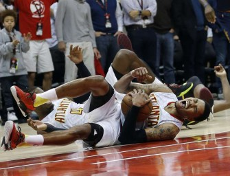 Posterize Lebron?  Kent Bazemore Tries and Takes one of the Scariest Falls You will Ever See…and Doesn't get hurt. (Head Bouncing Video)