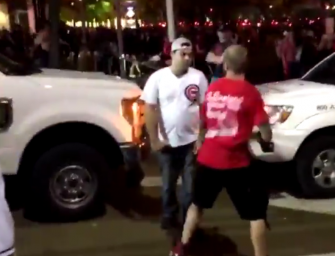INSANE VIDEO: Chicago Cubs Fan Gets KNOCKED OUT With Just One Punch After Argument With An Indians Fan (VIDEO)