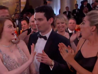 Watch The Most Awkward Moment At The Golden Globes: Emma Stone's Hug Attempt With La La Land Director And His Girlfriend…YIKES! (VIDEO)