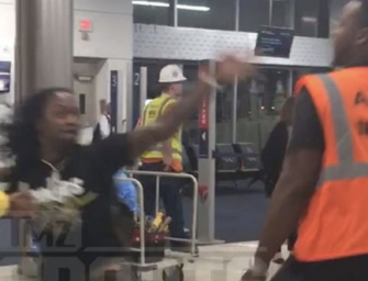 VIDEO: Pacman Jones Attacked By Airport Employee In Atlanta, But It's The Employee Who Ends Up On The Floor!