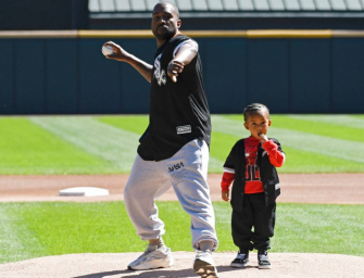 Kanye West And Son Saint West Throw Out First Pitch Before Cubs-White Sox Game In Chicago (VIDEO)