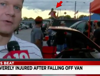 Crazy Video Shows Cleveland Browns Fan Falling Off Van And Having A Seizure On Live TV (VIDEO)