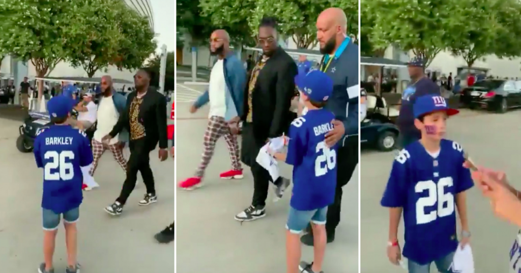 NY Giants Player Saquon Barkley Has Emotional Meeting With Kid Who Was Snubbed By Dallas Cowboys Star (VIDEO)
