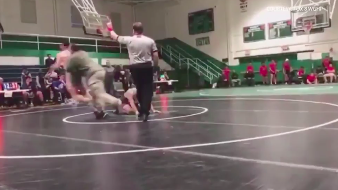 Father Attacks High School Wrestler After His Son Is Slammed To The Ground (CRAZY VIDEO)