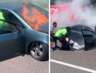 Real Life Superhero Pulls Man From Burning Vehicle JUST IN TIME…INCREDIBLE VIDEO!